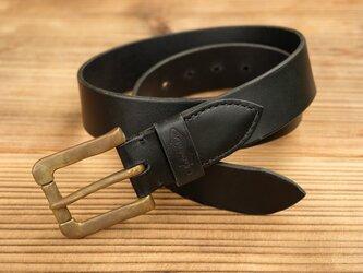 ベルト(真鍮製バックル):ブラックの画像