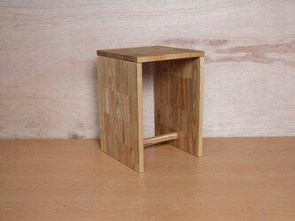 箱スツール・ブラックアッシュ材・パッチワーク風の画像