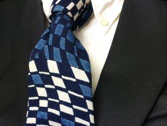 藍染幾何学柄ネクタイ インディゴ/チェック/本藍染の画像