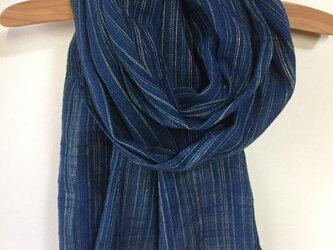 藍染めの手織りストール c34の画像