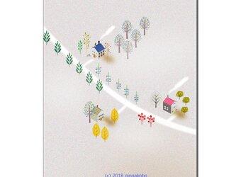「秋の北欧」 ほっこり癒しのイラストポストカード2枚組No.622の画像