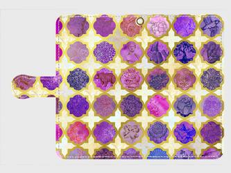 モロカンタイルパターン (アミュレット)<パープル>  アンドロイドLサイズ専用 手帳型スマホケースの画像