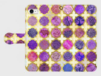モロカンタイルパターン (アミュレット)<パープル>  iphone 5/5s/6/6s/SE/7/8/X 専用 手帳型ケースの画像