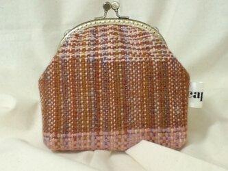 がま口ポーチM(手織り1)の画像