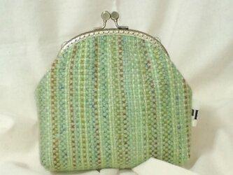 がま口ポーチM(手織り2)の画像