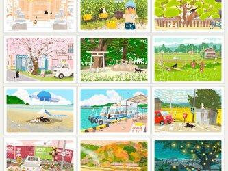 NEW!  たびねこポストカード  Cセット(作家手作りーお得な12枚入)の画像