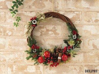 りんごと赤い実のリース【プリザーブドフラワー】クリスマスリース 森 木の実 赤 ギフトの画像