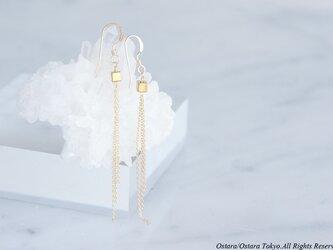 【Minimalism】14KGF Earrings, Gem Dice-- GoldxGold--の画像
