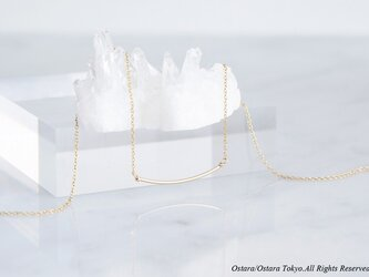 【Minimalism】14KGF Cuvy Bar Necklace,-- GoldxGold--の画像