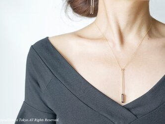 【Minimalism】14KGF Long Rectangle Necklace,の画像