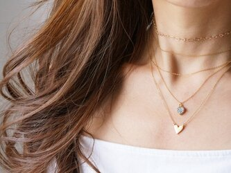 【Minimalism】14KGF Heart Chain Choker Necklace[35cm]の画像