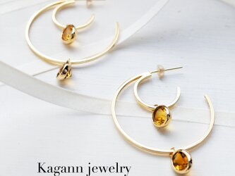 【受注制作】DOUBLE MOON hoop earrings〈Citrine〉の画像