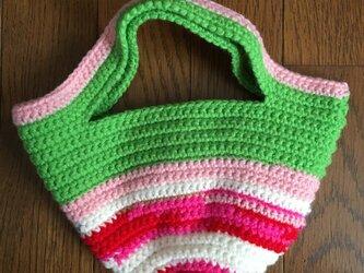 手編みのミニトートバッグ①の画像