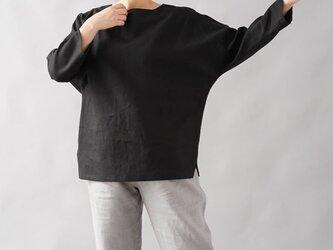【wafu】中厚地 リネン ブラウス ドルマンスリーブ トップス 裾スリット 長袖/ブラック t002b-bck2の画像