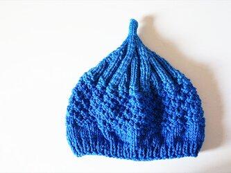 〇送料無料〇 どんぐりニット帽子新作 ブルーの画像