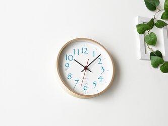 plywood clock 11 ナチュラル×ライトブルー  km-79L 連続秒針の画像