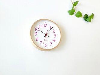 plywood clock 11 ナチュラル×ピンク km-79P 連続秒針の画像