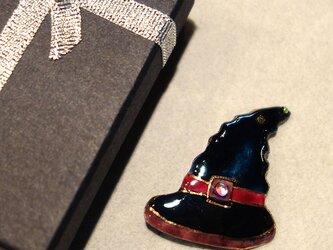 七宝焼ブローチ ハロウィンの帽子 Bの画像