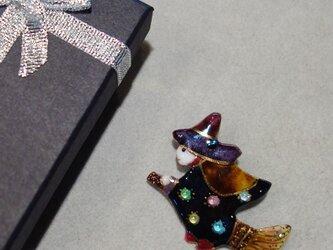 七宝焼ブローチ ハロウィンの魔女 Cの画像
