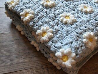 【受注製作】モチーフ編み・のブランケットbule Sの画像