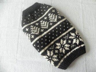 ノルディックセーター「濃グレー」犬のセーターの画像
