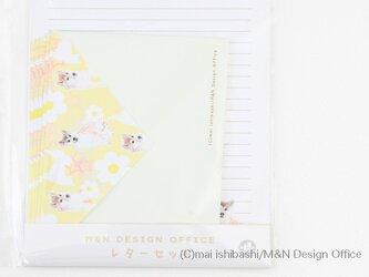 柴犬のイラストレターセット/イエロー(便箋&封筒)の画像