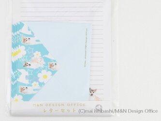 柴犬のイラストレターセット/ブル(便箋&封筒)の画像