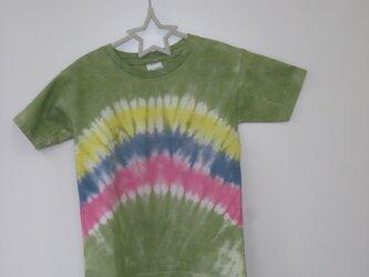 タイダイ染め 虹のようなもようのキッズTシャツⅡ ⑬の画像