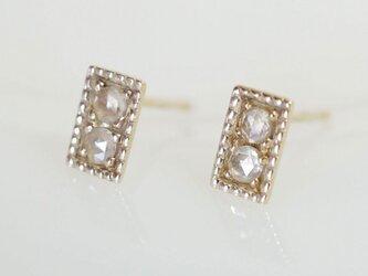 K10 ローズカットダイヤモンド スタッドピアス 両耳用の画像