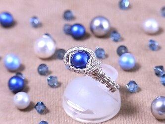スワロフスキー(6mm) ワイヤーラッピングリング(162034 iridescent dark blue<silver>)の画像
