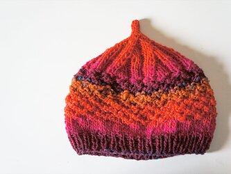〇送料無料〇 どんぐりニット帽子新作 ピンクオレンジの画像