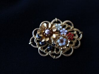 Robin's Vintage Brass Brooch2*ヴィンテージ*花*真鍮ブローチの画像