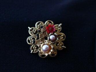 Robin's Vintage Brass Brooch3*ヴィンテージ*花*真鍮ブローチの画像