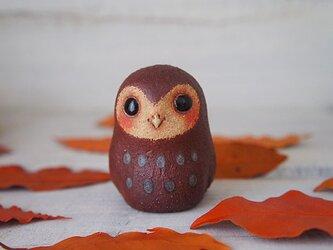 【陶器のふくろう】茶色mini-aの画像