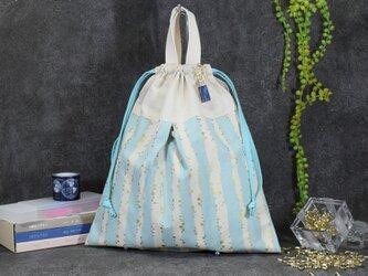 キラキラstar☆の着替え袋:水色 (星のネームホルダー付き)の画像