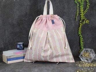 キラキラstar☆の着替え袋:ピンク (星のネームホルダー付き)の画像
