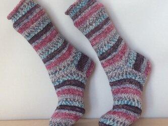 ドイツの毛糸のシマシマ靴下の画像