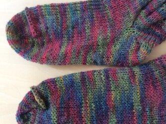 ドイツの毛糸でネジネジロング靴下の画像
