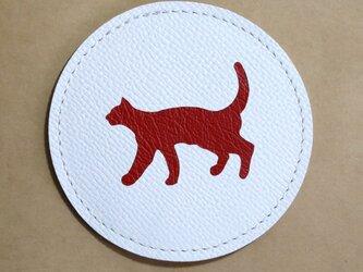 牛革★コースター★歩くネコ★犬やネコ(8A05)の画像