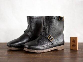 【受注製作】一枚革で作る牛革ブーツ 快適な履き心地 防寒 靴 黒KBB739の画像