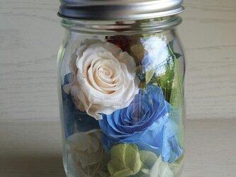 ホワイト&ブルーのバラの彩り アートフラワー♫の画像