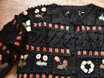 【1着限定】お花の刺繍たっぷり ウール・カーディガ・ セーター ニット JND0014の画像