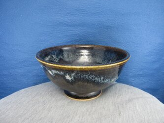 陶器ご飯茶碗(大)青黒天目釉の画像