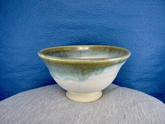 陶器ご飯茶碗(やや大)深型,藁白+織部釉の画像