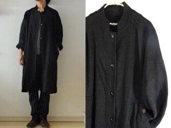 【受注制作】黒天日干し極厚リネン ハイネックコートの画像