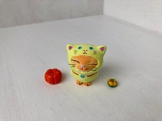猫をかぶった猫さんカボチャ二個付き(きみどり)の画像