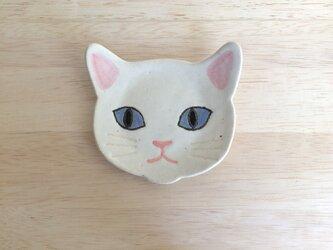 ネコ小皿(白)の画像
