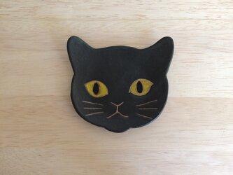 ネコ小皿(黒)の画像