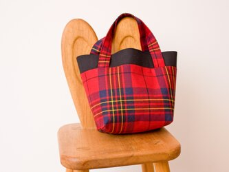 タータンチェックのミニトートバッグ【Lesrie Red】の画像
