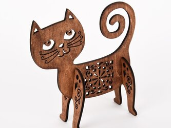 おちゃめ猫のオブジェ(木製インテリア)の画像